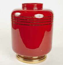VINTAGE SANG DE BOEUF GLASS DECO STYLE VASE WITH GOLD TRIM AND METAL BASE