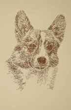 Welsh Corgi Dog Art #58 Stephen Kline will add dogs name free Word Drawing gift