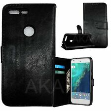 Google Pixel Black PU Leather Book Wallet Flip Stand Case Cover With Card Slots
