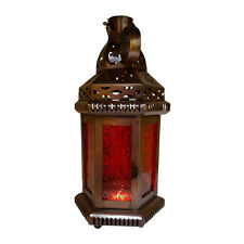 Red Glass Moroccan-style Hanging Lantern, TeaLight Candle Holder, Home Decors