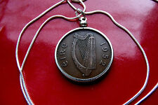 "1952  IRISH PENNY PENDANT CLASSIC BRONZE on 30"" 925 Sterling Silver Snake Chain"
