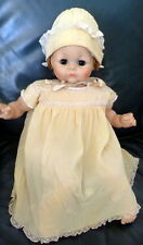 Vintage 1920s 1930s Girls Baby Doll PALE YELLOW SILK & LACE Dress & Bonnet