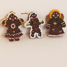 """Gingerbread Christmas Tree Ornaments Size 2 1/2"""" Lot of 3"""