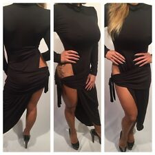 Connie's Long sleeve Black Evening Dress With High Thigh Hip Exposure XL