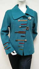 Carson Ocean Teal 100% Wool Novelty Button Embellishment Jacket RF14020 Sz XL