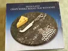 Vtg Godinger Silver Plated Grapes & Knife w/ Marble Cheese Board / With Box