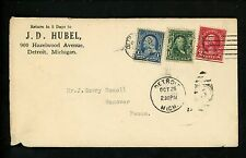 US Postal History #554+300+264 ASDA Indian Seal 1920's Detroit MI Hanover PA