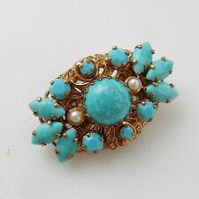 Vintage Turquoise & Pearl Filigree Bouquet Brooch Pin