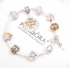 Authentic Pandora Silver Bangle Bracelet with European charms Silver & Gold Love