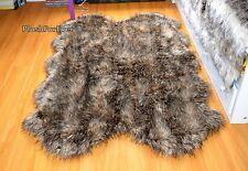 Rugs Throw Faux Fur 3' x 5' Mountain Coyote Brown Fur Carpet Lodge Cabin Decor