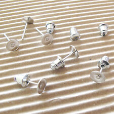 US SELLER - 50 pairs x (6x12mm) Earring Post/Stud w/Flat Pad & Stoppers A03
