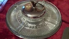 Vintage Silver Plate Lazy Susan With Glass Inserts  Silverplate 13""