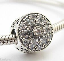RADIANT CRYSTAL FLOWER CHARM Bead Sterling Silver.925 For European Bracelet 788