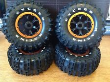 "1/8 RC Exceed Rock Crawler Wheels Tires Orange 2.8"" Beadlocks 17mm hub"