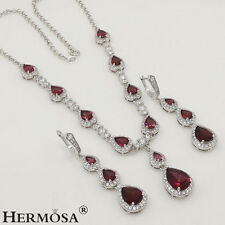 Xmas Gift! Spark Red Garnet Jewelry Sets 925 Sterling Silver Necklaces Earrings