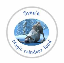 Personalised Round Christmas disney frozen sven reindeer food Labels Stickers