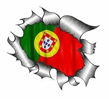 Ripped Torn Metal Look Design Portugal Portuguese Country Flag vinyl car sticker