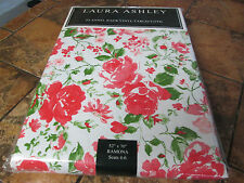 """Laura Ashley-Ramona-Vinyl flannel back tablecloth--Red/Pink/White-52"""" x 70""""--New"""
