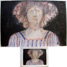 Femme contre fond foncé 1987 Co Westerik reproduction d'aquarelle 20x27cm