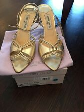 JIMMY CHOO Gold Metallic Sandal Heels Size 40 Authentic