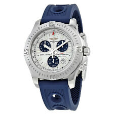 Breitling Colt Chronograph Silver DialBlue Rubber Quartz Mens Watch