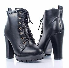 "Black Color Combat Military Chunky 4.5"" High Heel Womens Mid-Calf Boots Size 6.5"