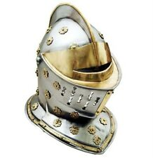 FULL SIZE WEARABLE MEDIEVAL GOLDEN KNIGHTS ARMOR STEEL HELMET BRAND NEW