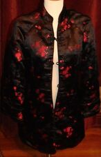 Chinese Mandarin Style Silk Brocade Black Red Hand Made Jacket