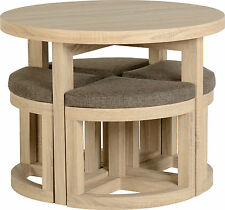 Cambourne Round Dining Stowaway Set 4 Chairs Oak Effect Veneer | Dining Room