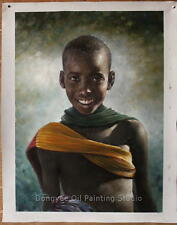 51x71cm Original oil painting on canvas portrait of smiling boy quality art sale