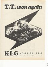 KLG spark plugs TT results classic motorcycle period advert June 1954