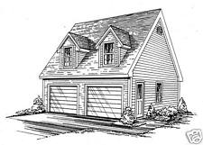 24 x 24 2 Car TD/RD Garage Building Blueprint Plans with pull dwn stair to Loft