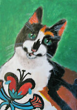 """ORIGINAL ACRYLIC ACEO PAINTING BY LJH  """"LUCY""""  A334   CALICO CAT"""