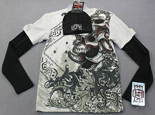 MMA ELITE Mens UFC licensed BEANIE HAT & SKULL DOUBLE SLEEVE THERMAL SHIRT NWT S