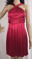 Teeze Me Dress Red Stretch Satin Unique Halter Style Holiday Party - Small XS
