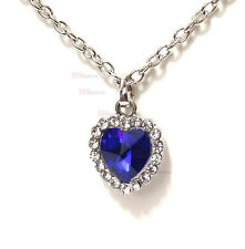 "Heart of the Ocean Silver Plated Blue Sapphire color Cristal 20"" Necklace w/ bag"