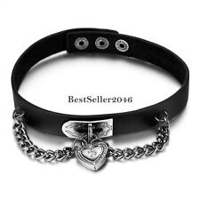Women's Girls Black Heart Lock Leather Collar Choker Buckle Necklace Punk Rock