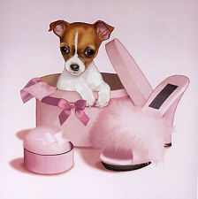 "CHIHUAHUA SMOOTH COAT DOG FINE ART PRINT - ""La Vie en Rose""  Puppy in a Pink Box"