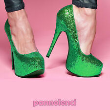 Scarpe donna decolletè decolte Burlesque 36 VERDE glitter pumps PLS-10
