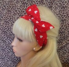 RED WHITE HEART PRINT BENDY HAIR WRAP WIRED SCARF HEADBAND 50S RETRO ROCKABILLY