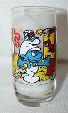 """1983 Peyo Hardees """"Handy Smurf"""" Glass By Wallace Berrie & Co  SEPP"""