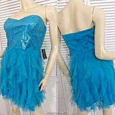 NWT TEEZE ME Jr. DRESS 7 Blue Strapless Sequin Top Lace Skirt Prom Homecoming
