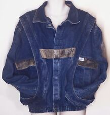 Guess George Marciano Vintage Denim Leather Bomber Jacket Sz XL Marty McFly