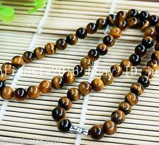 Natural 8mm Yellow Tiger's Eye Gemstone Bead Round Necklace 18'' AAA