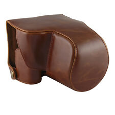 PU Leather Camera Case Bag Cover for Panasonic Lumix FZ1000 with Strap Brown