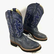 EUC Dan Post Modern Exotic Lizard Blue leather Western Boots Sz 8 M