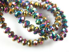 Spacer Findings 100Pcs Colorized Plated Glass Crystal Faceted Rondelle Bead 4mm