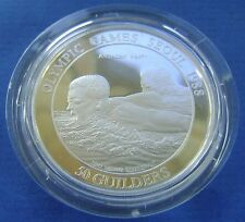 Suriname 1988 Seoul Olympics Suriname 50 Guilder 1988 Silver Proof Anthony Nesty