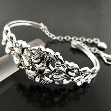 A493 GENUINE REAL 925 STERLING SILVER S/F SOLID LADIES CUFF BANGLE BRACELET