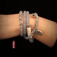 Bracelet Elastique Longue Charms Elephant Perle Quartz Bleu Clair Belle Couleur